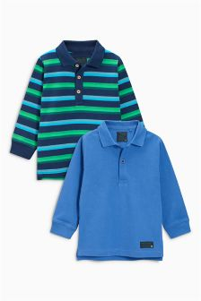 Long Sleeve Polos Two Pack (3mths-6yrs)