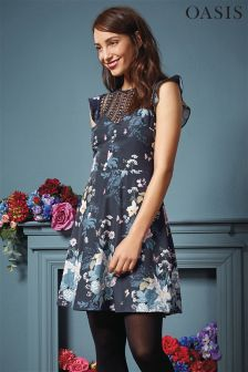 Oasis Navy Botanical Bouquet Skater Dress