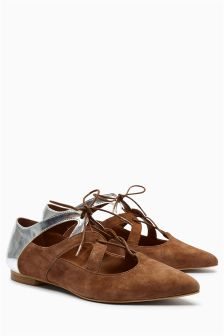 Mink Lace-Up Point Shoes