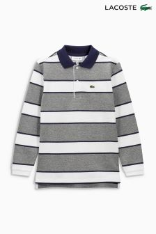 Lacoste® Grey/White Stripe Long Sleeve Polo