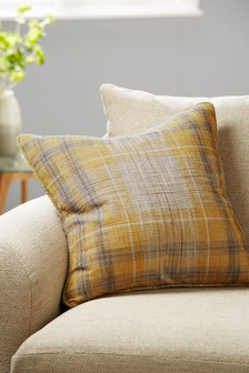 Ochre Astley Woven Boucle Check Cushion