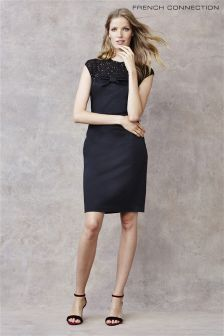 French Connection Black Jewel Bow Shift Dress