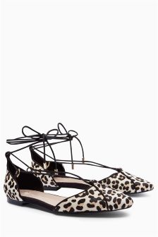 Leopard Print Lace-Up Ballerinas