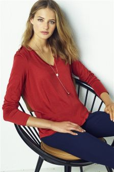 Tencel® Button Long Sleeve Top