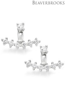 Beaverbrooks Silver Cubic Zirconia Earring Jackets