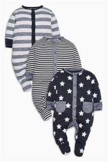 Stars And Stripes Sleepsuits Three Pack (0mths-2yrs)