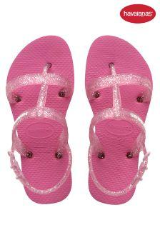 Havaianas® Pink Glitter Strap Sandal