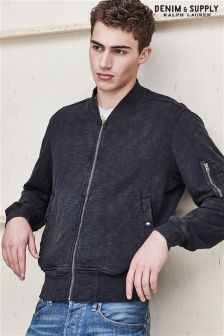 Ralph Lauren Denim And Supply Black Jersey Bomber Jacket