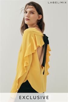 Mix/Kitri Studio Open Back Ruffle Top