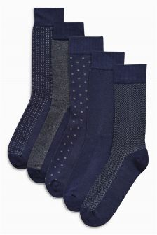 Pattern Comfort Socks Five Pack