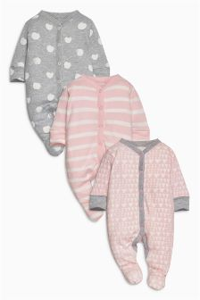 Stripe And Spot Sleepsuits Three Pack (0mths-2yrs)