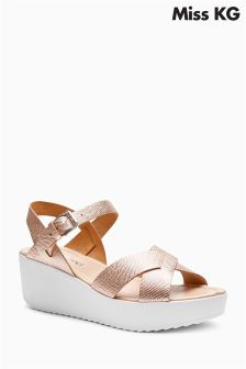 Miss KG Rose Gold Parker Cross Strap Wedge Sandal