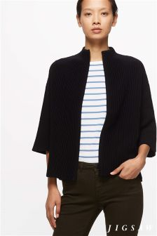 Jigsaw Navy Block Stripe Silk Front Sweater