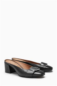Leather Low Block Mules