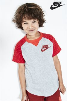 Nike Little Kids Dark Grey Heather Raglan T-Shirt