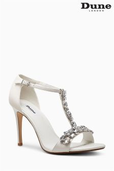 Dune Makeeta Ivory Embellished T-Bar Sandal