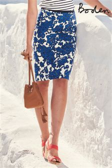 Boden Blue Textured Pencil Skirt
