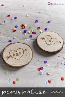 Set Of 2 Personalised Log Coasters By Loveabode