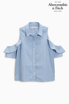 Abercrombie & Fitch Blue Gingham Ruffle Shirt
