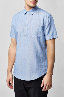 Short Sleeve Linen Blend Overhead Shirt