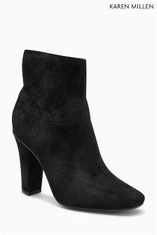 Karen Millen Black Leather Block Heel Ankle Boot