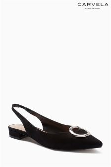 Carvela Black Link Pointed Low Slingback Shoe