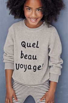 Slogan Fleece Crew Top (3-16yrs)