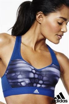 adidas Blue Printed High Impact Bra