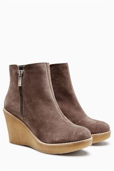 Leather High Crepe Wedge Boots
