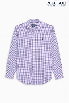 Ralph Lauren Golf White/Purple Check Shirt