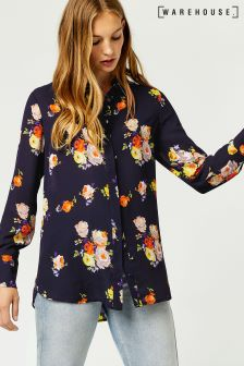 Warehouse Navy Pattern Victoria Floral Print Shirt