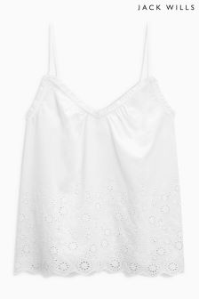 Jack Wills White Rose Embroidered Cotton Voile Broderie Top