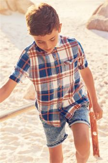 Short Sleeve Indigo Check Shirt (3-16yrs)