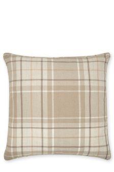 Large Natural Soft Woven Check Cushion