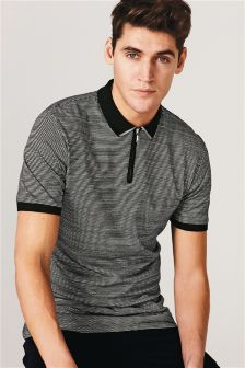 Textured Zip Neck Poloshirt