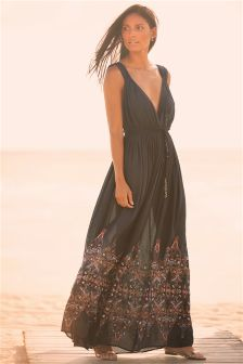 Next black print maxi dress
