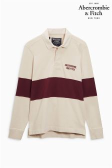 Abercrombie & Fitch Burgundy/Neutral Stripe Rugby Top