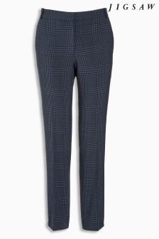 Jigsaw Navy Plaid Trouser