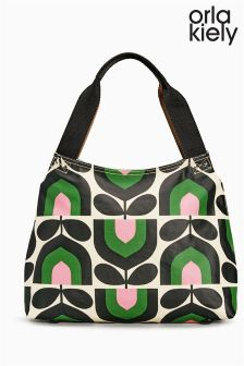 Orla Kiely Spring Green Tulip Print Classic Zip Shoulder Bag
