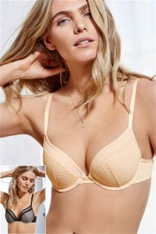Cara Lace Push Up Plunge Bras Two Pack