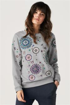 Embroidered Sweat Top
