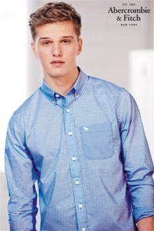 White/Blue Abercrombie & Fitch Stripe Shirt