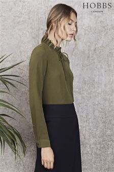 Hobbs Fern Green Silk Lorrie Top