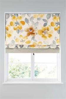 Ochre Watercolour Bloom Roman Blind