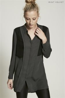 Mint Velvet Khaki Blocked Shirt