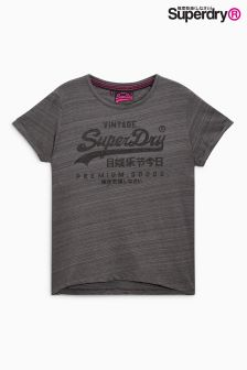 Superdry Dark Marl Injected Black Premium Goods BF Tee