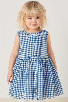 Gingham Dress With Flower Appliqué (3mths-6yrs)