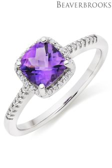 Beaverbrooks 9ct White Gold Amethyst Diamond Halo Ring