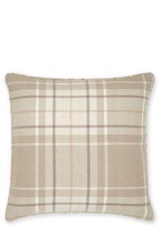 Natural Soft Woven Check Cushion