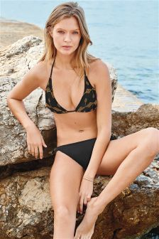 Embroidered Soft Triangle Bikini Top